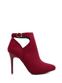 Hollow Out Flock Stiletto Heel Ankle Boots - Red 38