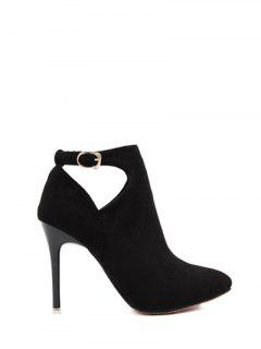 Hollow Out Flock Stiletto Heel Ankle Boots - Black 37