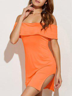 Off The Shoulder Side Slit Bodycon Dress - Orange S