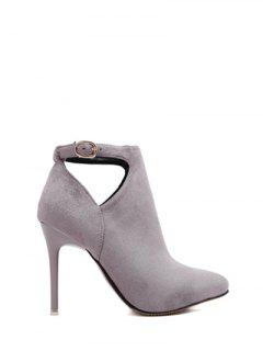 Hollow Out Flock Stiletto Heel Ankle Boots - Light Gray 37