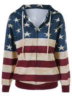 American Flag Printed Zipper Up Hoodie - Blue And Red M
