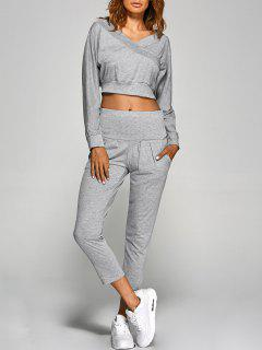 V Neck Back Cutout Crop Top With Pants - Gray S