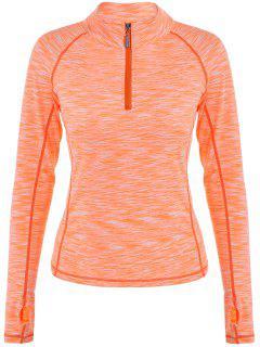 Heathered Puntada Superior De Cobertura De La Cremallera De La Camiseta - Naranja Rosa S