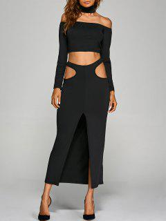 Crop Top With Front Slit Cut Out Skirt - Black S
