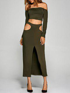 Crop Top With Front Slit Cut Out Skirt - Army Green S