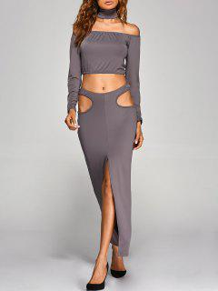 Crop Top With Front Slit Cut Out Skirt - Gray S