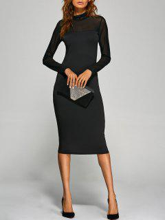 Long Sleeve See-Through Midi Work Bodycon Dress - Black Xl