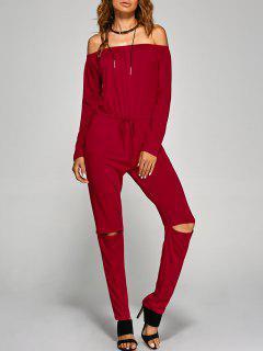 Camiseta Caida De Hombros Manga Larga - Rojo Xl
