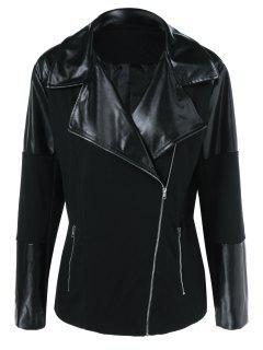 Inclined Zipper Plus Size PU Splicing Jacket - Black Xl