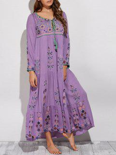 Scoop Neck Embroidered Swing Maxi Dress - Purple L