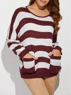 Gestreifter Pullover Mit Rundhalsausschnitt Und Taschen - Rot & Weiß