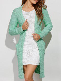 Side Furcal Collarless Cardigan - Light Green