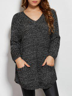 Pockets V Neck Sweater - Deep Gray
