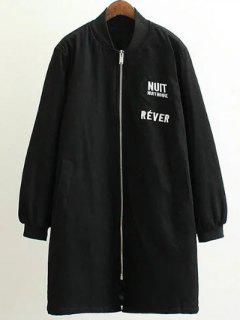 Stand Neck Letter Embroidered Cotton Linen Coat - Black 3xl