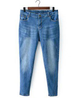Bleach Wash Zip Fly Denim Pants - Light Blue Xl