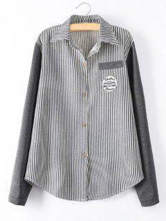 Chemise Rayée Avec Manches Tricotées  - Noir 2xl