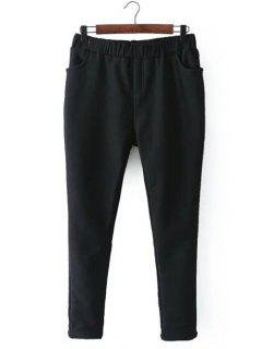 Casual Fleece Narrow Feet Pants - Black 2xl