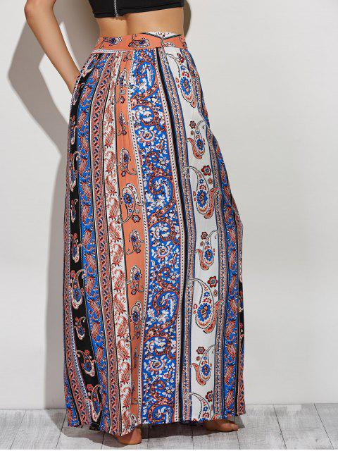 trendy Paisley Pattern High Slit Maxi Skirt - COLORMIX S Mobile
