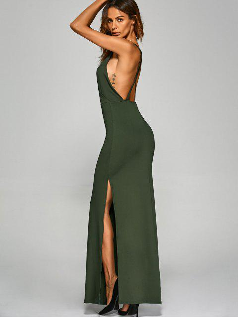 affordable Backless High Split Surplice Maxi Club Dress - ARMY GREEN M Mobile