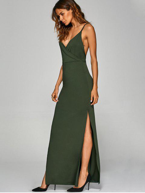 buy Backless High Split Surplice Maxi Club Dress - ARMY GREEN S Mobile
