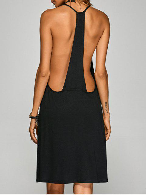 online Racerback Knee Length Club Cami Dress - BLACK L Mobile