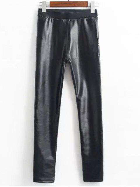 lady Fleece Faux Leather Leggings - BLACK XL Mobile