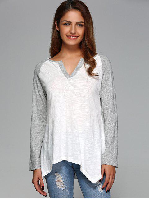 sale Raglan Sleeve Asymmetrical Tee - GREY AND WHITE 2XL Mobile
