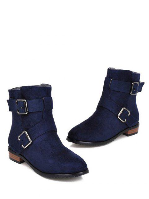 lady Flat Heel Round Toe Buckles Short Boots - DEEP BLUE 39 Mobile