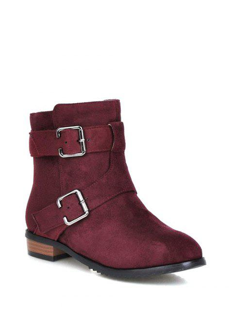 hot Flat Heel Round Toe Buckles Short Boots - RED VIOLET 37 Mobile