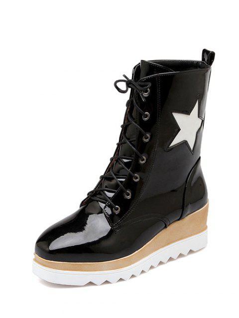 sale Star Pattern Platform Square Toe Short Boots -   Mobile