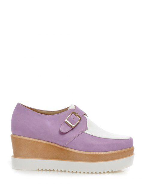 women's Buckle Square Toe Color Splicing Wedge Shoes - WHITE AND PURPLE 39 Mobile