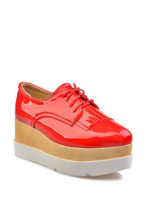 latest Fringe Platform Tie Up Wedge Shoes - RED 38 Mobile