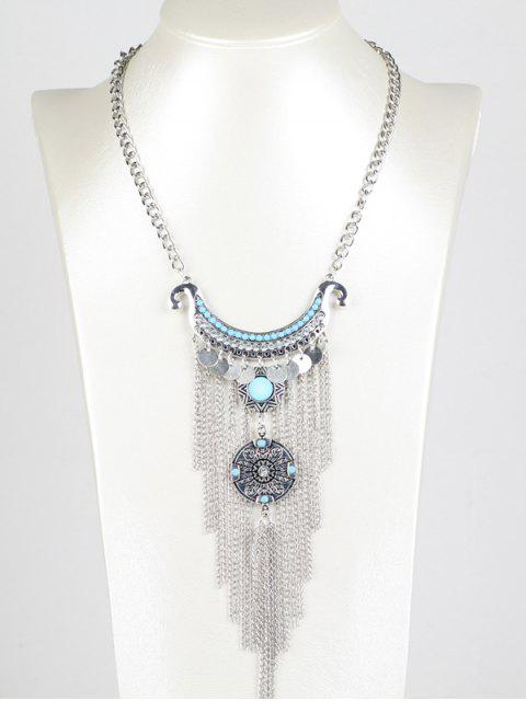 lady Disc Chain Fringe Necklace -   Mobile