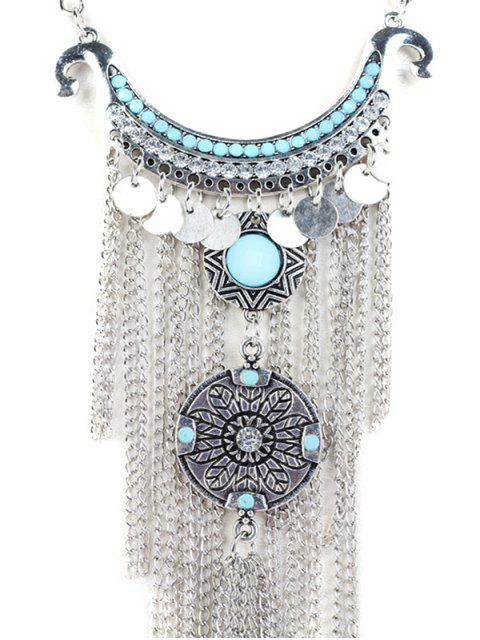 lady Disc Chain Fringe Necklace - SILVER  Mobile