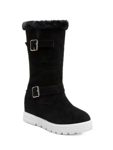 women Double Buckles Platform Snow Boots - BLACK 39 Mobile