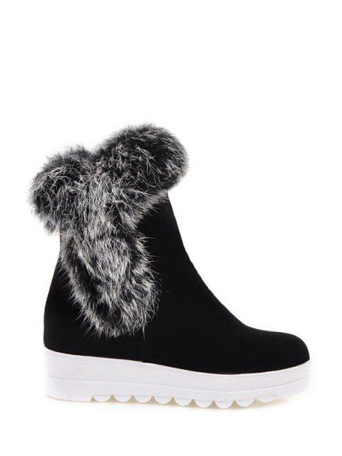 affordable Faux Fur Platform Short Boots - BLACK 37 Mobile