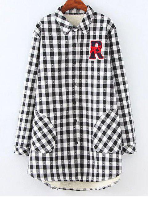 outfits Plus Size Fleece Lining Checked Shirt - WHITE AND BLACK 4XL Mobile