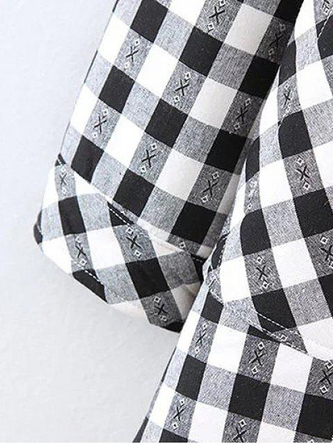shops Plus Size Fleece Lining Checked Shirt - WHITE AND BLACK 2XL Mobile