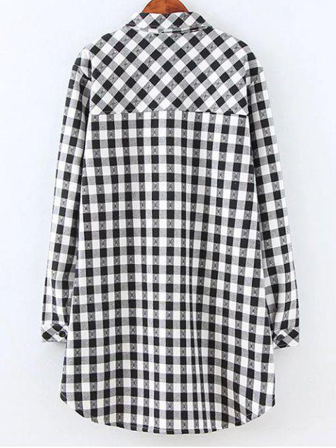 Chemise en laine à carreaux avec poches - Blanc et Noir 2XL Mobile