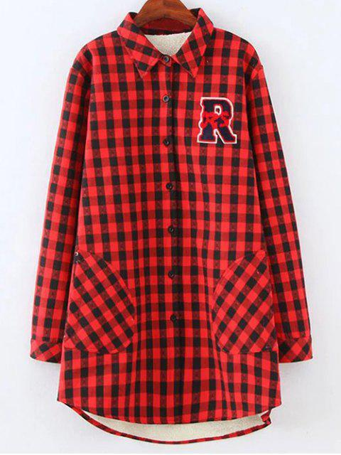 chic Plus Size Fleece Lining Checked Shirt - RED 2XL Mobile