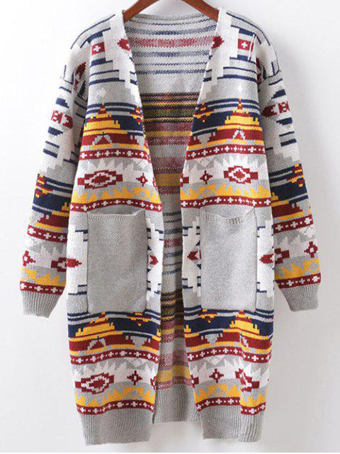 outfit Argyle Cocoon Cardigan - LIGHT GRAY ONE SIZE Mobile