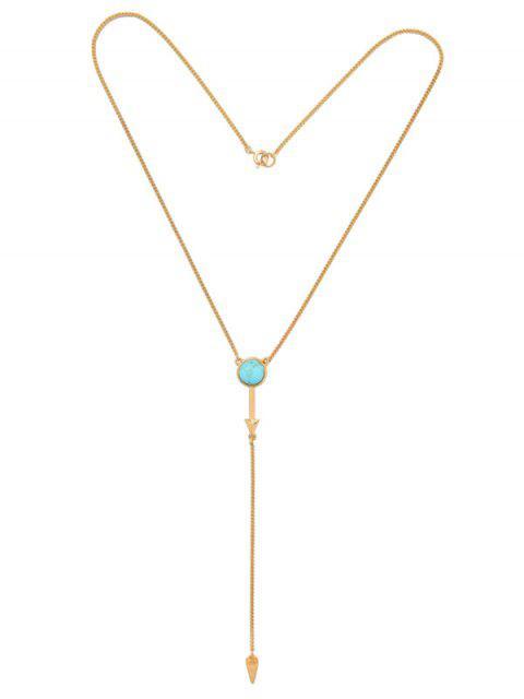 trendy Faux Turquoise Geometric Circle Pendant Necklace - GOLDEN  Mobile