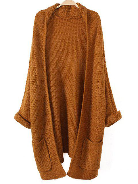 buy Pockets Knitted Long Cardigan - KHAKI ONE SIZE Mobile