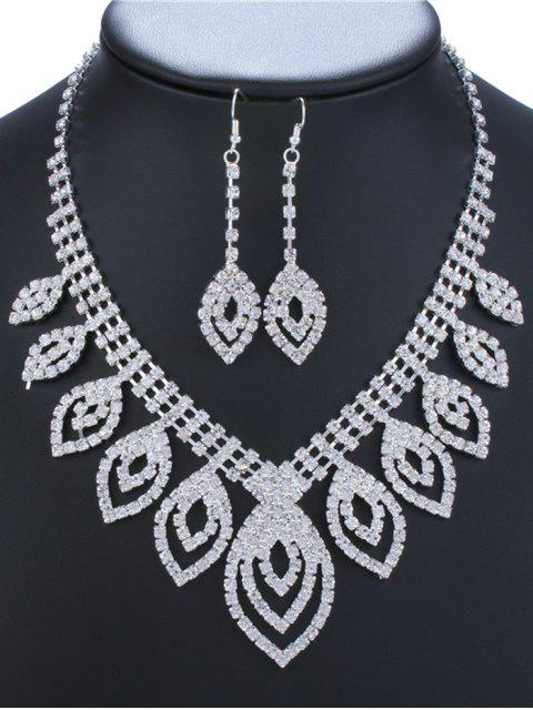buy Hollow Out Leaves Rhinestone Jewelry Set - SILVER  Mobile