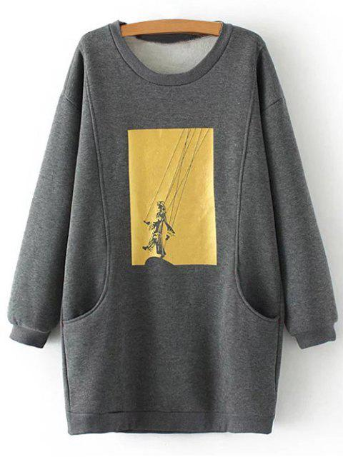 best Plus Size Shadow Puppet Long Sweatshirt - GRAY XL Mobile