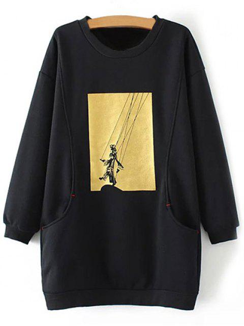 hot Plus Size Shadow Puppet Long Sweatshirt - BLACK XL Mobile