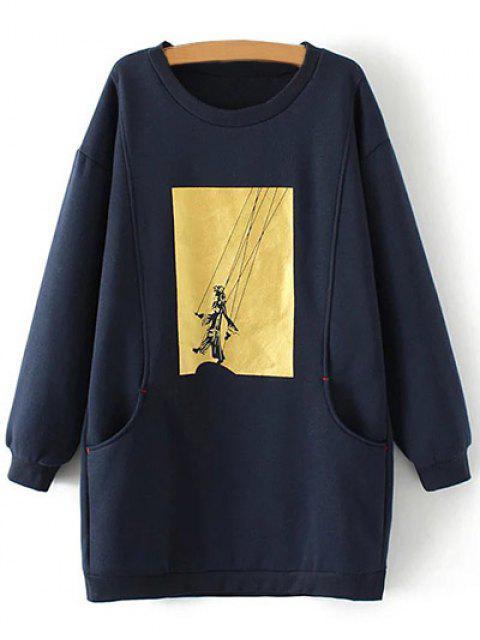 Sweatshirt long imprimé graphique de grande taille - Bleu Cadette XL Mobile