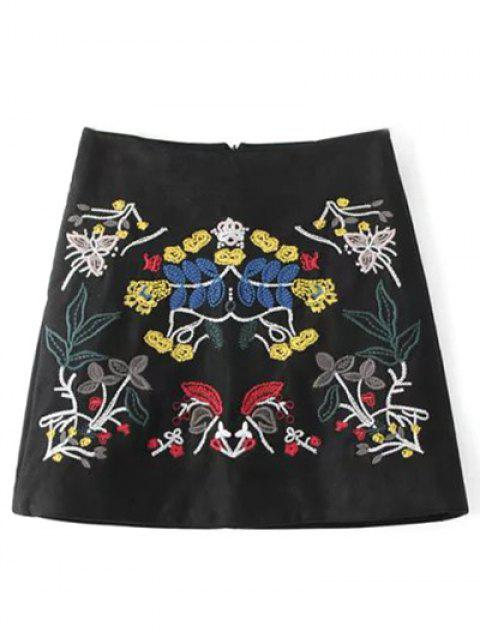 Mini jupe A-ligne en faux suédé à motifs tribal - Noir S Mobile