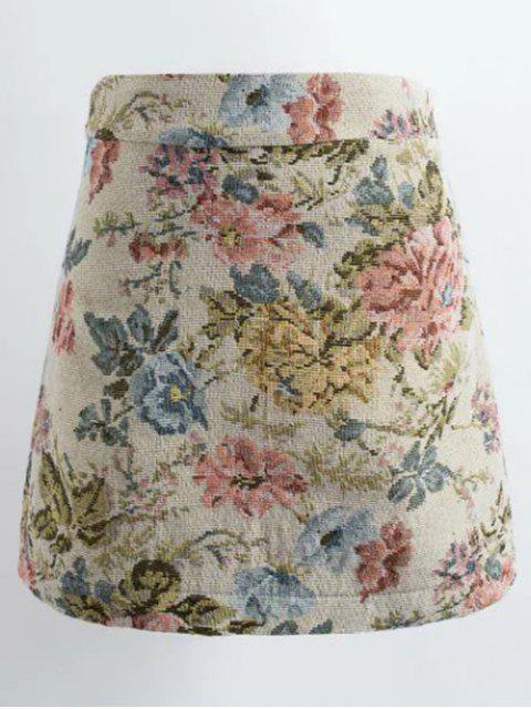 Mini-jupe A-ligne à motifs floral en jacquard - Multicolore M Mobile