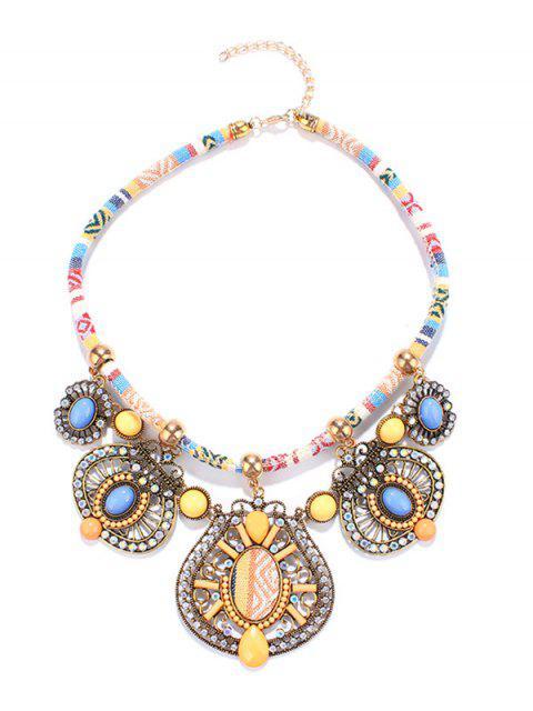 lady Rhinestone Enamel Geometric Necklace - YELLOW  Mobile
